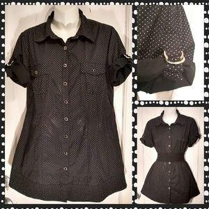 F.A.N.G. Polkadot Buttonup Tunic Top/Mini Sz XL